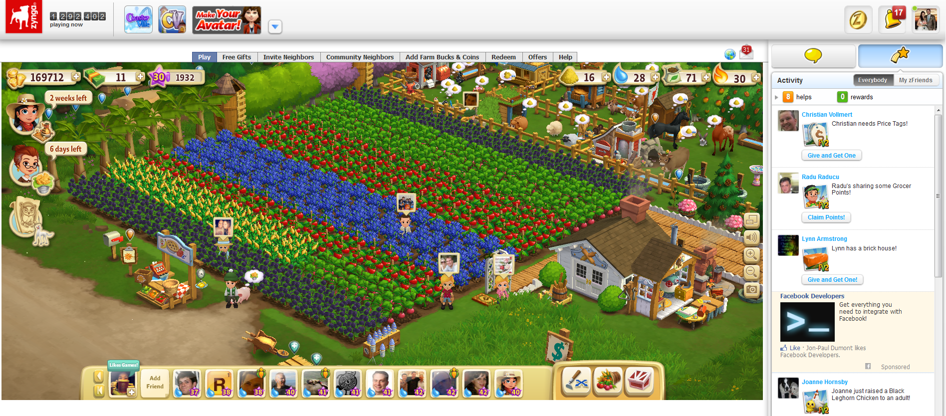 An Update to Zy... Zynga Games Farmville 2 Facebook
