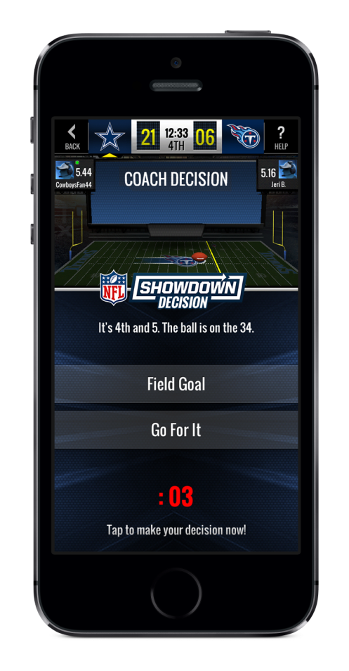 NFL Showdown Coach Decision Screenshot
